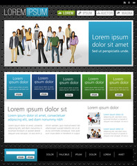 Blue and green website Template with business people