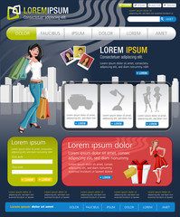 Colorful website Template with business people