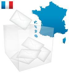 Élections françaises. Urne avec bulletins de vote.