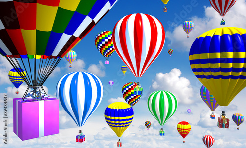 hot-air balloons in the sky, with gifts in place of the basket - 39334637