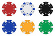 Sets of 3d rendered colored casino chips - 3D rendering - 39337230