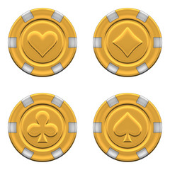 Sets of 3d rendered gold casino chips - 3D rendering