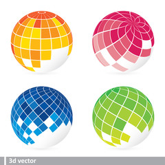 set of abstract mosaic 3d vector
