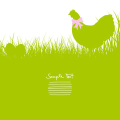 Hen With Bow In Meadow & Eggs Background Green