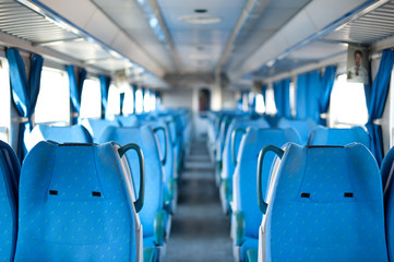 Empty seats inside a train. Shallow dof.