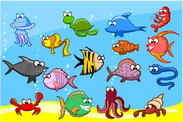 Мультфильм рыб в море, векторная иллюстрация