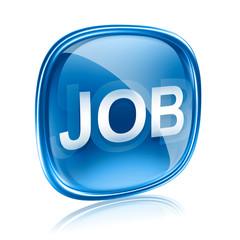 Job icon glass blue, isolated on white background