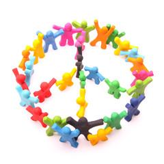Friedens symbol aus vielen bunten menschen