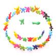 zwinker smiley aus ganz vielen bunten Knetfiguren