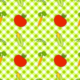 seamless texture of vegetables(EPS 8) on plaid background