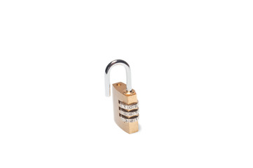 Isolated metal coded unlocked padlock on white