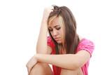 Woman in discomfort poster