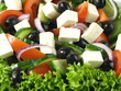 Close-up of greek salad with feta and olives