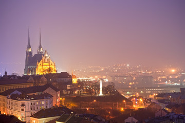 nigth town with cathedral