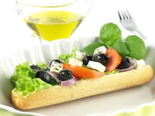 Garnished vegetarian sandwich