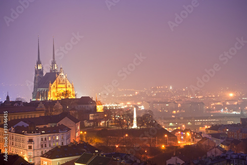 Aluminium Praag nigth town with cathedral