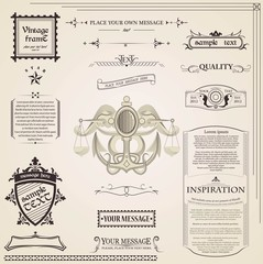 Calligraphic elements vintage set