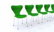 Designer Stuhlreihe - Grün Silber