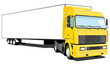 Vector isolated yellow semi truck