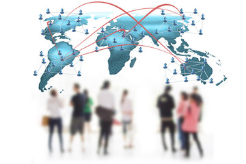 Social network concept  people over world map
