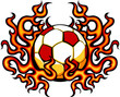 Soccer Template with Flames Vector Image...