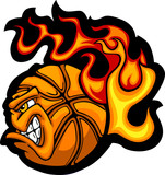 Basketball Flaming  Ball Face Vector Image