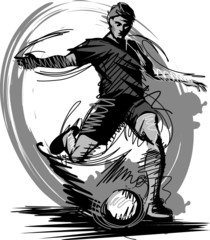 Soccer Player Kicking Ball Vector Illustration...