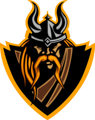 Viking Mascot Vector Graphic with Horned Helmet.Viking Mascot Ve