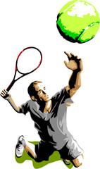 Tennis Player Silhouette Serving Ball