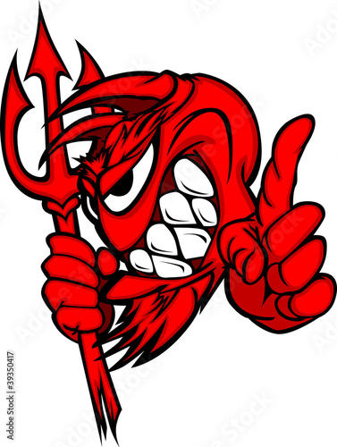 Demon Mascot Head with Pitchfork Vector Cartoon...