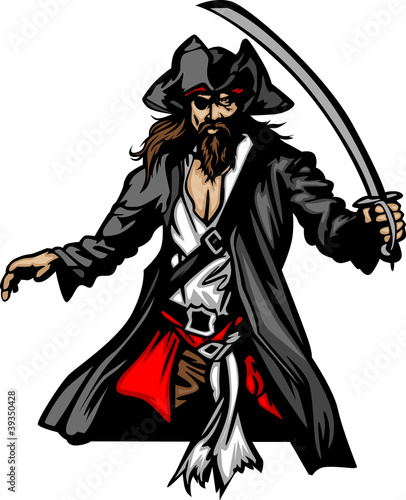 Pirate Mascot Standing with Sword and Hat