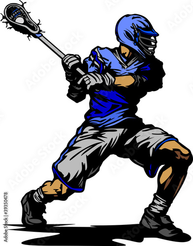 Lacrosse Player Cradling Ball Illustration