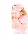 lovely little girl wearing pink dress