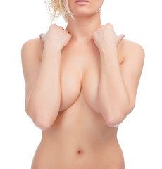 Crop of female body with a breast covered