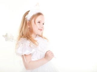 lovely little girl wearing white dress