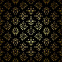 black decorative vector pattern with gold gradient