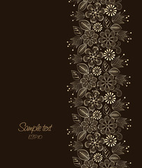 Beautiful floral illustration on brown background