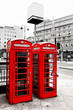 Red telephone boxes, London, UK.
