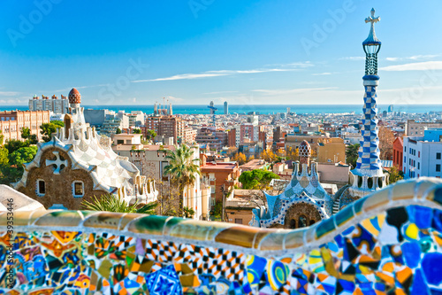 Park Guell in Barcelona, Spain. - 39353446