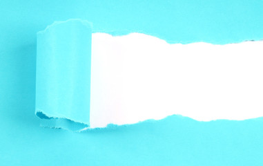 Blue tore paper with copy space