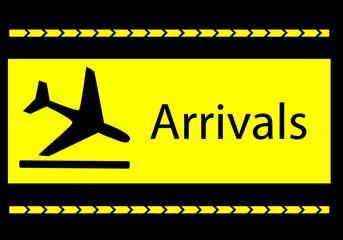 Panel informativo de llegadas en el aeropuerto