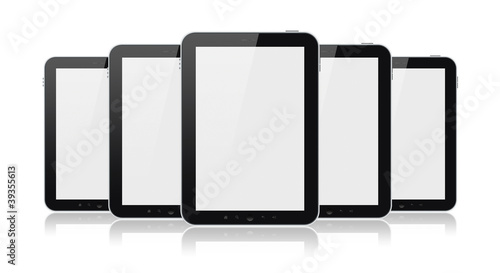 Set Of Tablet Computers Isolated