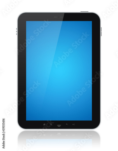 Tablet Computer With Blue Screen Isolated