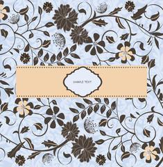 invitation card on blue floral background