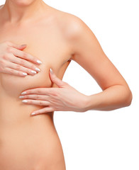 Breast cancer, woman touching her breasts, isolated on white bac