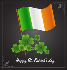 Irish Flag with Shamrock Background