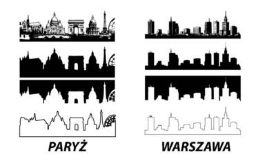 Vector of European cities Warsaw Paris