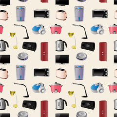 Household appliances seamless pattern