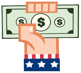 Hand With American Flag Holding Up A Cash
