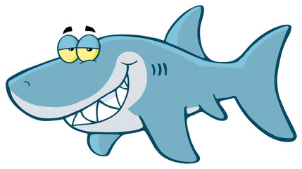 Happy Shark Cartoon Character